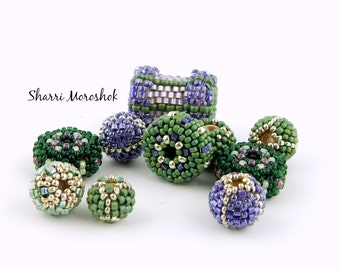 Sale - Reduced30% - Purple and Green Beaded Beads set of 10 - by Sharri Moroshok