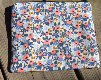 Zipper pouch - cotton and steel - Le Fluers - rifle paper company - blue ans pink flowers