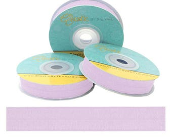 "Pastel Lilac - Fold Over Elastic - Solid FOE - 5/8"" Wide - 5 Wholesale Yards"