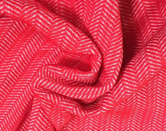 """1960/70's  Pink Red Geometric Polyester Double Knit Fabric 62"""" x 1 Yard- 1970's double knit,pink knit fabric,  polyester double knit fabric"""