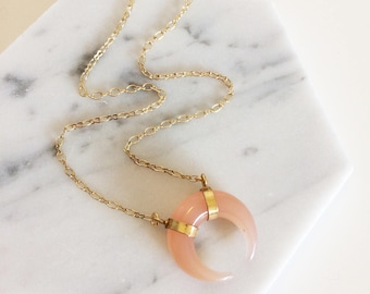 Pink Chalcedony Mini Crescent necklace - delicate necklace, crescent necklace, boho style, layering necklace, gemstone necklace