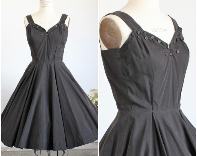 Featured listing image: Vintage 1950s Black Fit and Flare Dress / 50s New Look Dress / Button Detail / Cotton Summer Dress / Full Circle Skirt / Gothic Clothing