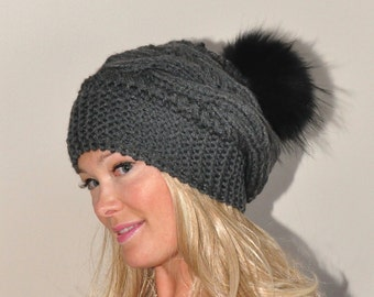 Fur Pompom Hat Braid Knit Beanie Cable Hat Hand Knit Winter Women Hat CHOOSE COLOR Dark Gray Chunky Christmas Gift