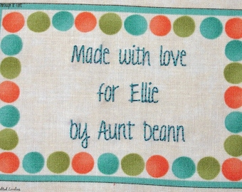 Quilt Label - Polka Dot Frame, Custom Made & Hand Embroidered LAST ONE