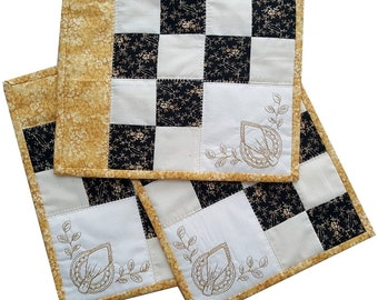 Patchwork Snack Mats or Candle Mats, Yellow, Black and Cream Traditional Patchwork Blocks with Embroidery
