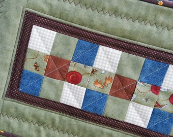 Rustic Country Quilted Table Runner  Patchwork with a Gardeners Print