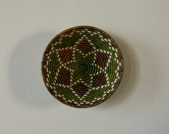 Vintage Decorative Wall Basket, Geometric, Tribal Ethic