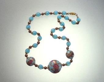 Blue Venetian Glass Bead Necklace Glitter Pink Blue Opalescent Art Glass Beads