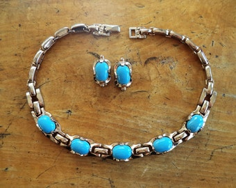 Signed Barclay Turquoise Goldtone Necklace Earrings Set