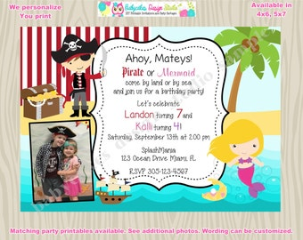 Pirate and MERMAID Birthday Party Invitation Invite sibling birthday boy girl Pirate Mermaid photo printable CHOOSE your pirate and mermai