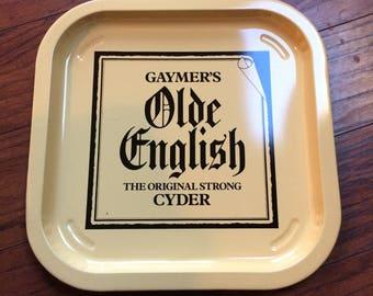Vintage Gaymer's Olde English Strong Cyder Metal Serving Beer Liquor Tray, Man Cave Decor, Metal Square Serving Tray, Beer Tray, Bar Tray