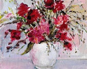 Original acrylic impressionistic floral painting Vase of red and pink roses 6x6 inches