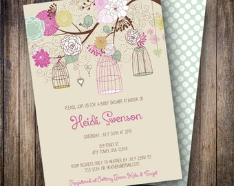 Vintage Birdcage Baby Shower Invitation, Vintage Floral Baby Shower Invite, Printable Baby Shower Invitation - Vintage Rose Birdcages