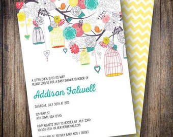 Birdcage Baby Shower Invitation, Birdcage Baby Shower Invite, Printable, Floral Baby Shower Invitation - Birdcages in Teal, Red and Yellow