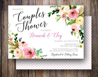 Couples Shower Invitation, Watercolor Peonies, Couples Wedding Shower Invite, Floral Bridal Shower, Boho, Rustic, Pink, Yellow, Green, 910