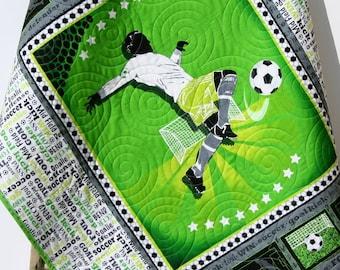Soccer Baby Quilt, Sports Kick Goal, Green Black Gray, Boy or Girl Bedding, Handmade Quilt, Nursery Decor, Sports Fan, Small Blanket Soccer