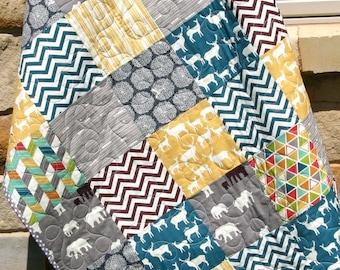 Quilt, Baby Boy, Crib Bedding Blanket Grey Teal Blue Brown Yellow Nursery Cot Yellow Blue Green Grey Orange, Birch Organic Fabrics, Elk Deer