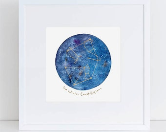 Winter Constellation Mini. Print Watercolor Art. Custom Hand Painting gift. Birthday or House Warming Gift. Custom gold art. Gift under 20.