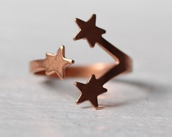 Star Ring ... Vintage Midi Adjustable Moon Constellation Copper Rose Gold
