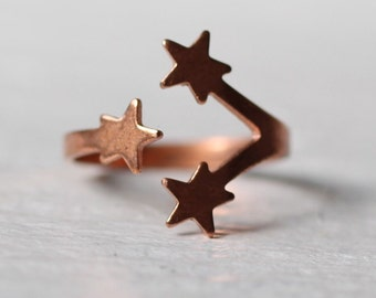 Star Ring ... Vintage Midi Adjustable Copper Rose Gold