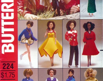 Butterick 224 Vintage 80s Sewing Pattern for Marie Osmond Barbie Doll Clothes - Uncut