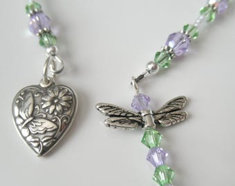 Heart and Dragonfly Beaded Bookmark - Heart and Dragonfly Book Thong - Sterling Silver Heart, Green and Purple Crystal Bookmark, Gift Ideas