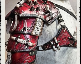Red leather shoulder armor - Alchemist -