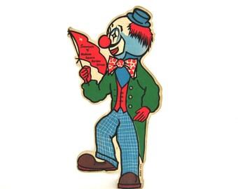 Vintage Clown Pennant Circus Stick Flag Felt Cute Souvenir Madison Square Garden Hanco New York Large Red Blue Green