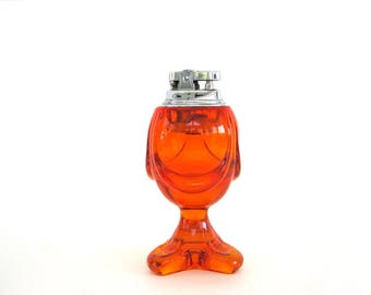 Vintage Glass Table Lighter, Viking Epic Drape Persimmon Orange Mid-Century Art Glass, Table Cigarette Lighter, 1960's Viking Glass