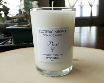 Pisces Zodiac Sign Soy Candle - Astrological sign, astrology, unique gift, birthday gift, under 20