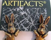 Vintage JJ Earrings Bunny Rabbit- Jonette Jewelry Artifacts collectible- Unique Gift under 15