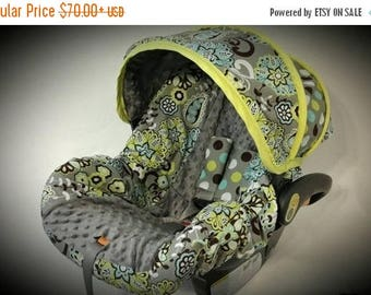 SALE Splendid Paisley Great neutral cover with gray minky- Infant car seat cover- Custom order Always comes with FREE Strap Covers