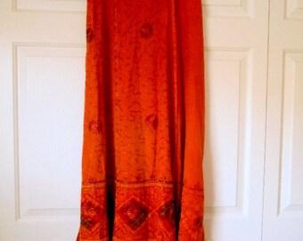 Vintage rusty orange 90's India maxi Wrap Skirt