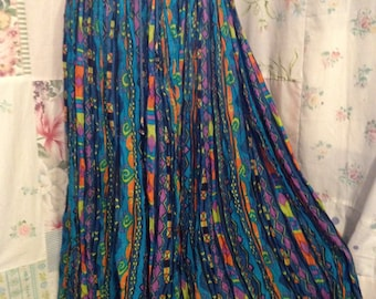 OPEN SIZE, Skirt Cotton Bohemian Hippie Boho Indie Lightweight Gypsy Flowerchild Colorful Crinkle Skirt