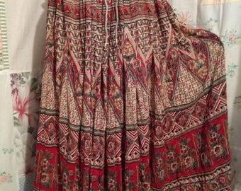 OPEN SIZE, Skirt Hippie Boho Long Full Bohemian Indie Cotton Skirt