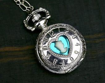 Locket Pocket Watch with Hidden Heart Cameo