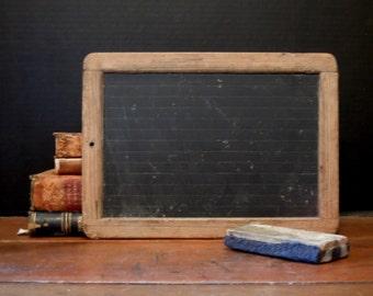 Antique / Vintage / Large Primitive Rustic German Schoolhouse Slate / Vintage Chalkboard Eraser
