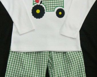 Custom Boys Toddler Christmas outfit santa on tractor Applique shirt and pants - Green gingham check