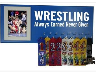 Wrestling Medal Hanger, Wrestling medal display, Wrestling gifts - holder for wrestling medals Wrestling singlet - Always earned never given