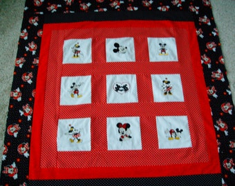 quilt top  minnie and mickey mouse quilt disney quilt top embroidered quilt top