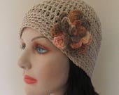 Beige Cotton Beanie with Attached Flower, Beige Spring Hat, Beige Summer Hat, Warm Weather Accessory