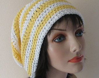 Yellow  and White Slouchy Hat, Crochet Slouchy Beanie, Women's Slouchy Hat, Slouch Beanie, Slouch Hat, Women's Cotton Hat