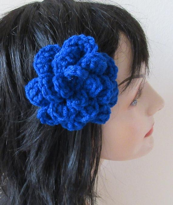 Barrette Royal Blue Barrette Crocheted Flower Barratte Hair Accessory