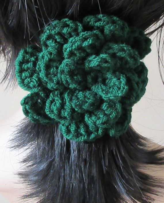Barrette Green Barrette Crocheted Flower Barrette Hair Accessory
