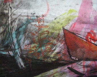 Wild Riverside- a large colorful drawing and painting