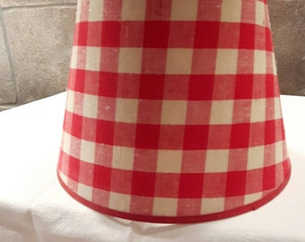 Red Gingham Lamp Shade: 1950s Red Check Gingham Lampshade,Lighting
