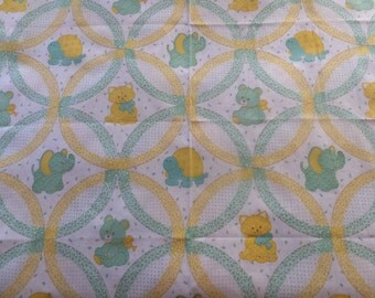 Vintage Childrens Baby Turtle Elephant Kitty Cat Bear Green Yellow Cotton Fabric