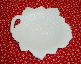 Fenton Milk Glass Leaf