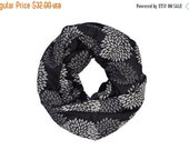 SALE - 25% OFF INFINITY Scarf - Screen Printed - Gray Flowers on Black
