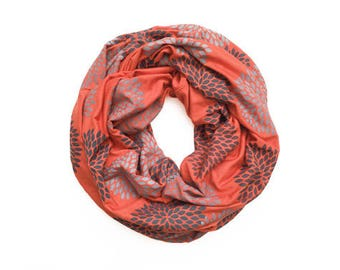 INFINITY SCARF - Screen Printed - Gray Flowers on Tangerine